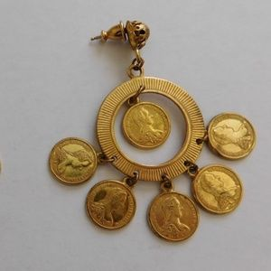 Vintage Miriam Haskell Gold Coin Earrings Gipsy